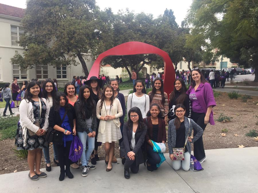 8th grade girls at the Math/Science Leadership hosted by AAUW at Whittier  College